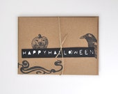 Happy Halloween Paper Cut Blank Card with Hand Stamped Art