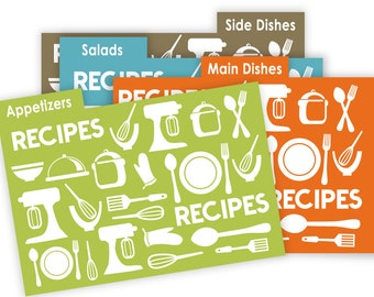 Kitchen Theme Recipe Card Dividers 4x6 Printable No 836