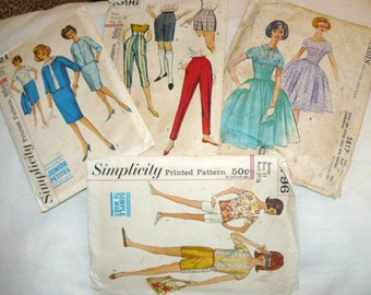 Vintage 1960 Clothing PATTERNS Womens Teen Petite Junior Great Dress