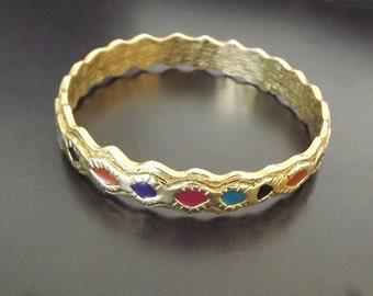 Vintage Bracelet Bangle Multi Colored Enamel Retro 1970 Costume Jewelry