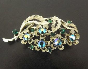 Vintage Brooch Blue Green Rhinestones AB Lisner Designer Signed Antique Womens Costume Jewelry