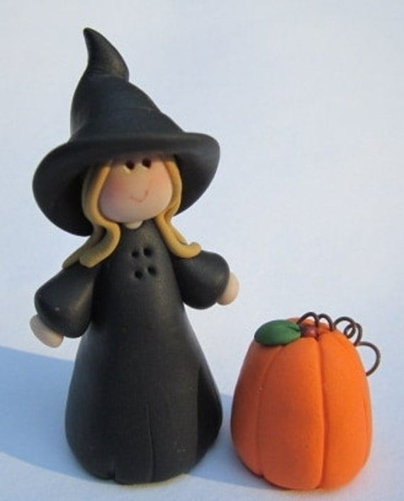 One Custom made Polymer Clay Mini Witch with her miniature Halloween Pumpkin