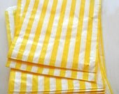 Set of 25 - Traditional Sweet Shop Yellow Stripe Paper Bags - 10 x 14 New Style