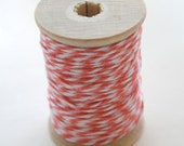 Baker's Twine - 20 Yards - Strawberry - Coral Pink - 4 Ply Twine on Wooden Spool