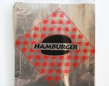Vintage Style Foil Paper Lined Jumbo Hamburger Bags - Red and Black Checkered - Gusseted 6-1/2 x 1-1/2 x 7-3/4 Inches - set of 75