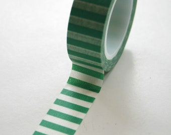 Washi Tape - 15mm - Green and White Horizontal Stripe - Deco Paper Tape No. 463