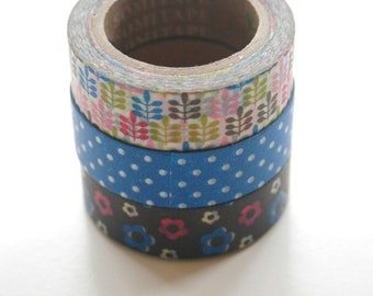 Washi Tape Set - 15mm - Combination EZ - Florals and Dots - Three Rolls Deco Masking Tape 479, 457, 471