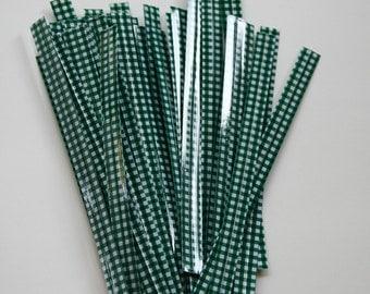 Dark Green Gingham Twist Ties - set of 25