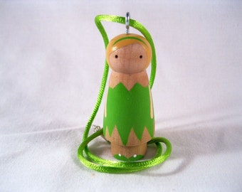 Tinkerbell of Neverland Wood Peg Doll Pendant