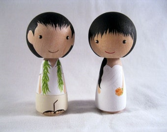 Full Custom Personalized Kokeshi Peg Doll Wedding Cake Topper, Bride, Groom, Couple