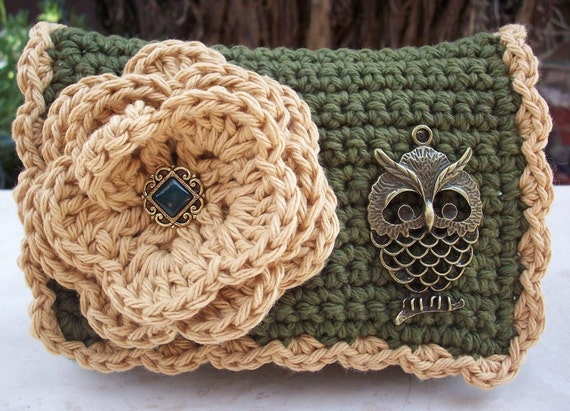 Olive Green and Army Tan with Owl Crocheted Cotton Little Bit Purse