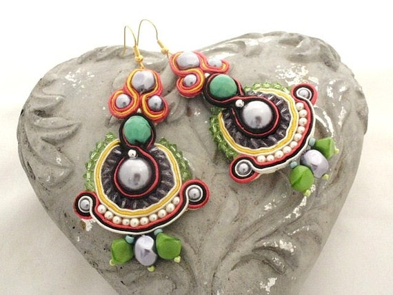 Rainbow chandelier earrings - Honorine -      free shipping  Valentine day