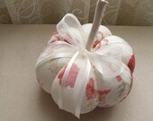 Off White Decorative Pumpkin in Red Floral Fall Decor