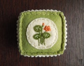 Nasturtium Embroidered Wool Felt Pincushion in Green and Orange