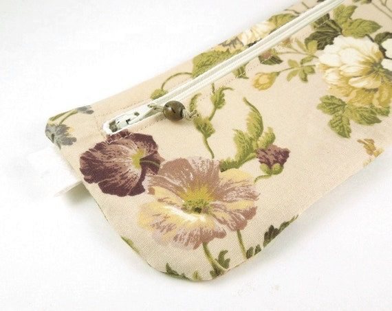 Beige Floral Pencil Case Zipper Pouch