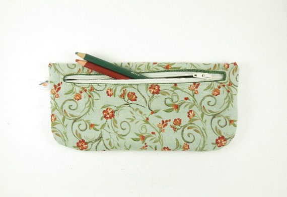 Sage Green and Orange Floral Pencil Pouch Zipper Pouch