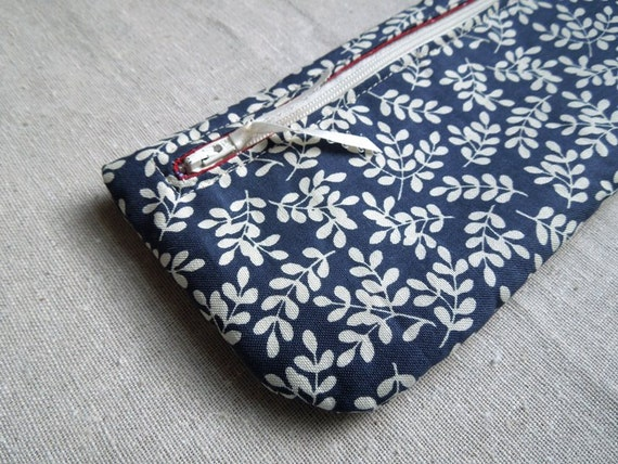 Floral Red and Navy Blue Pencil Case Zipper Pouch