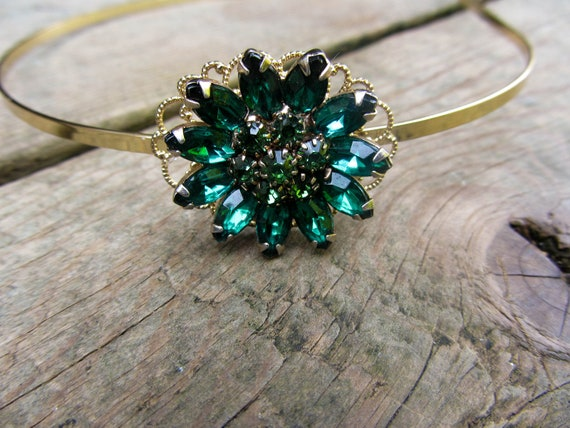 Emerald green rhinestone headband, Vintage Rhinestone Headband, Green, Flower Holiday Hair