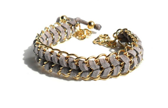 Chain Leather Bracelet  / Arm candy / Gray Chevron Bracelet / Leather Gold Chain Bracelet / Boho chic Jewelry / Fashion trendy Gift for Her
