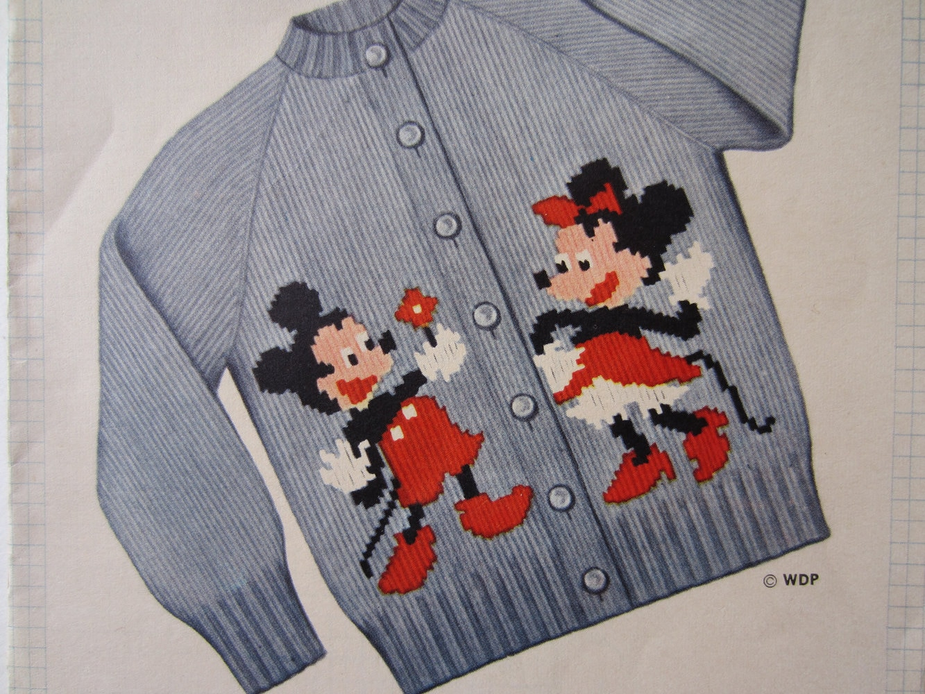 Knitting Pattern For Rat Sweater : NIfty 50s Mickey and Minnie Mouse Sweater Knitting Pattern for