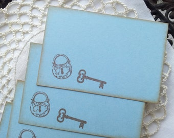 Skeleton Key and Lock Place Cards Food Buffet Label Tags Wedding Set of 10