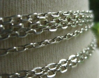 Silver Plated Cable Chain 3.5mm by 2mm 1 foot (31cm) SB352E