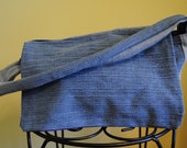 Upcycle Blue Jean Tote with Flap Closure and Purple Lining