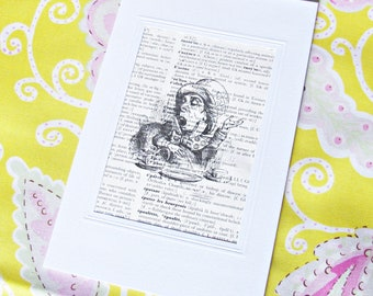 Mad Hatter Greeting Card Alice in Wonderland Vintage Dictionary Page Birthday Celebration Two Cheeky Monkeys Literature Whimsical Curioser
