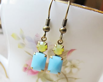 Yellow Blue Earrings Glam It Up Lemon Sky Vintage Glass. Ibiza Jewel Brass Dainty Delicate. Multicoloured Multicolored Jewellery