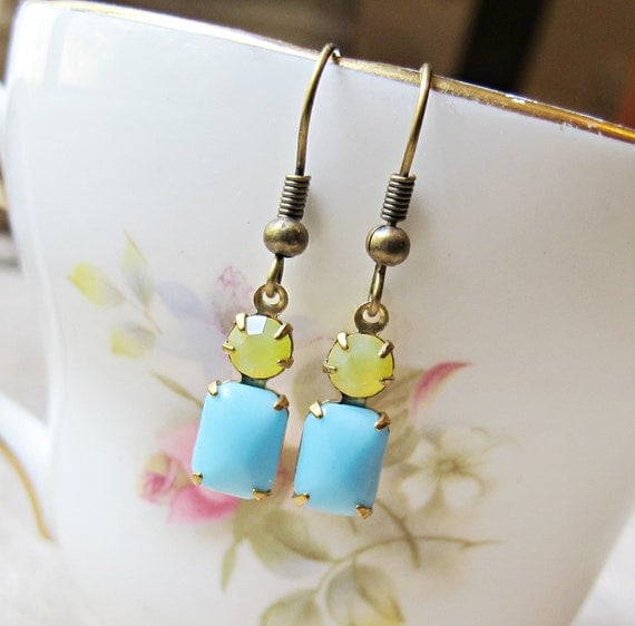 Ibiza Earrings, Glam It Up Turquoise Lemon Yellow Vintage Glass Jewel Brass