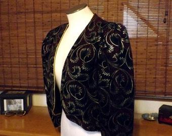 Vintage 80s New wave Black Velvet metallic fan print Crop Jacket M