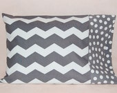 Travel Size Pillow Case -- Grey and White Chevron with Polka Dots