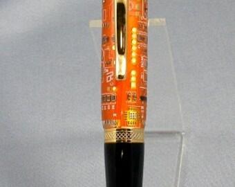 Orange Circuit Board Twist Pen
