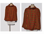 vintage cape HOUNDSTOOTH 1960s coat jacket wrap wool tweed.