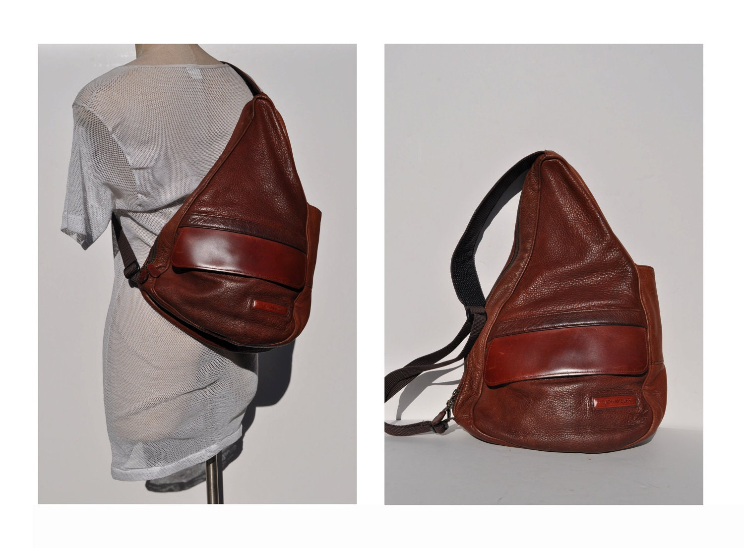 ERGO vintage leather backpack ll bean sling healthy LEATHER