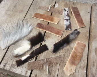Bulk Lot of Hide Pieces for Cuffs or Bracelets - Real Fur -  10 Pieces - Choice of Species