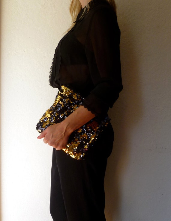 Sequins Clutch Purse Gold Black Glam Bag Evening Statement Sequin Party