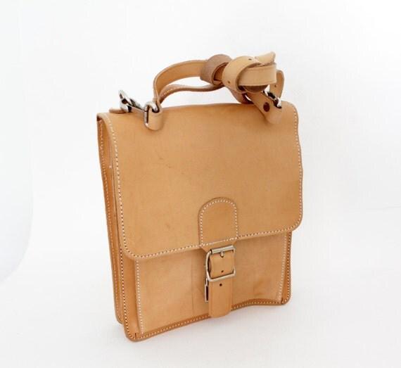Vintage tan leather satchel bag
