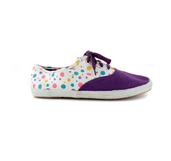 r e s e r v e d for juliaannata Vintage sneakers / purple dotted tennis flats / size 38-7.5