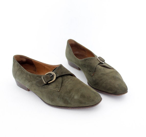 Vintage shoes / green suede buckle oxfords / size 38-7.5