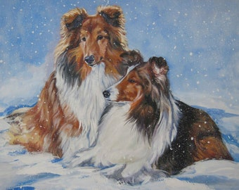 Shetland Sheepdog SHELTIE dog art canvas PRINT of LAShepard painting 11X14""
