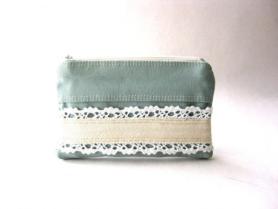 SALE 20% OFF - Prices already reduced - The Honey Coin Purse in light gray - light blue cotton