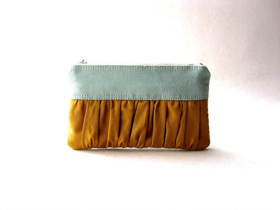 Black Friday Sale - 20% OFF - Prices reduced - Mustard Coin Purse - The True Romantic Coin Purse in light blue - gray / honey gold - mustard