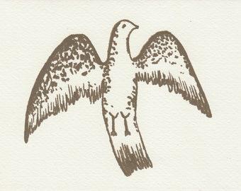 Bird Eagle Screen Printed Greetings Gift Card