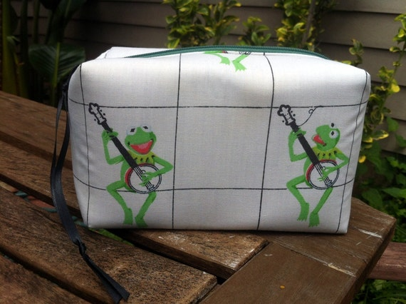 Kermit with Banjo Rectangular Zipper Pouch Recycled