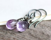 February Birthstone Amethyst Earrings Wire Wrapped in Oxidized Sterling Silver - Provence - Birthstone Jewelry Gift Under 30