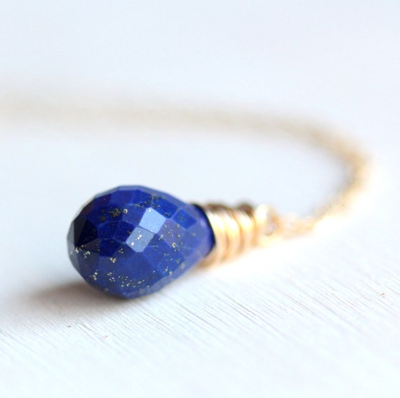 Lapis Lazuli Cobalt Blue and Gold Necklace - Midnight Blue and Gold Jewelry Under 50 Gift