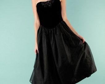 Vintage Dress Cocktail Formal Velvet Corset Tulle Strapless LBD M Gunne Sax