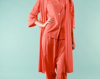 Vintage Pajamas Set Nylon Robe Top Pants Coral Orange Mid Century Modern 1960s