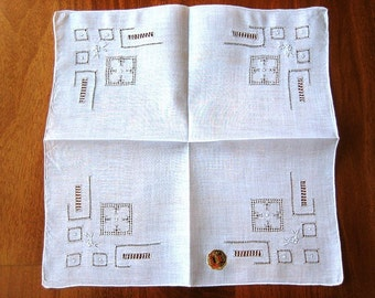 Handkerchief Hankie Vintage NEW Wedding Bride WHITE Bridal Linen Embroidered Cutwork Lace NWT